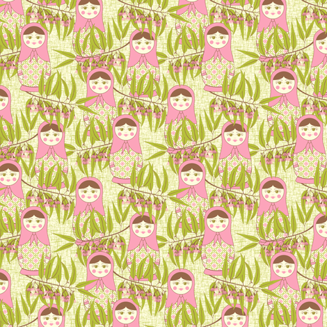 Matryoshka of the Eucalypt - Autumn Green fabric by inscribed_here on Spoonflower - custom fabric