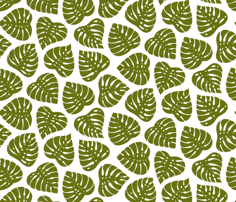 Monstera Leaves fabric by fattcheese on Spoonflower - custom fabric
