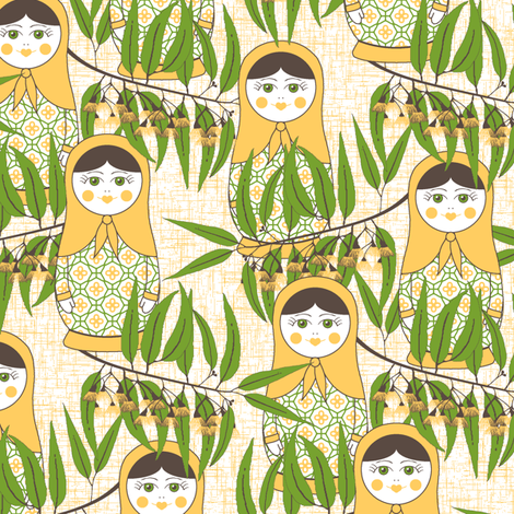 Matryoshka of the Eucalypt - Australian Gold fabric by inscribed_here on Spoonflower - custom fabric