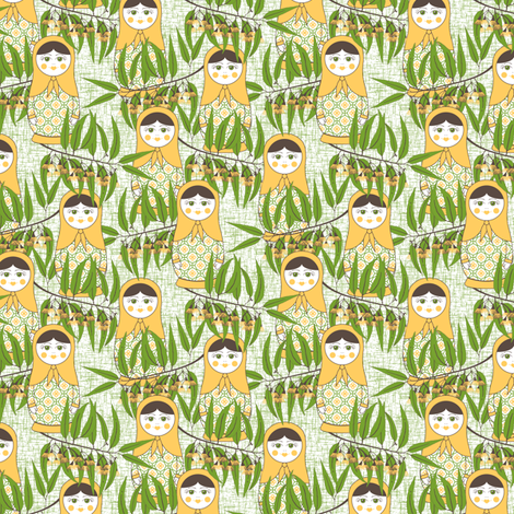 Matryoshka of the Eucalypt - Australian Green fabric by inscribed_here on Spoonflower - custom fabric