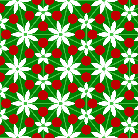 holly leaf, flower and berry 7x vein fabric by sef on Spoonflower - custom fabric