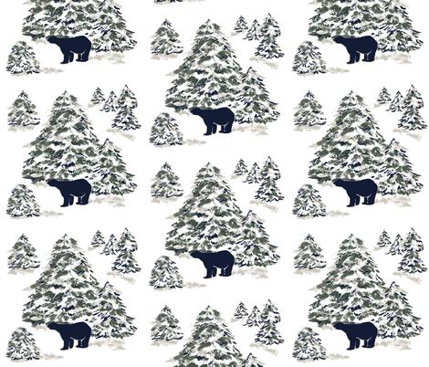 Black Bear Forest fabric by karenharveycox on Spoonflower - custom fabric