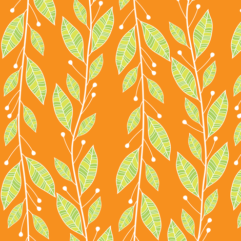 Viney Leaves (Orange) fabric by robyriker on Spoonflower - custom fabric
