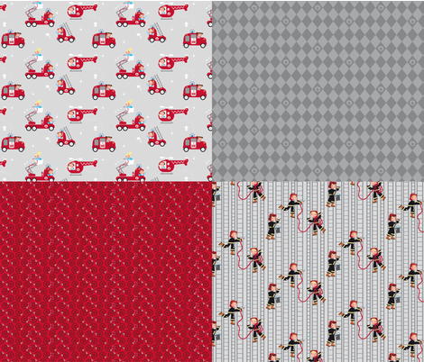 Firemen, on the roll! fabric by verycherry on Spoonflower - custom fabric