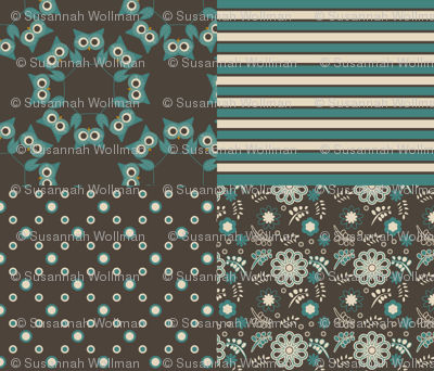 owls, stripes, dots and flowers