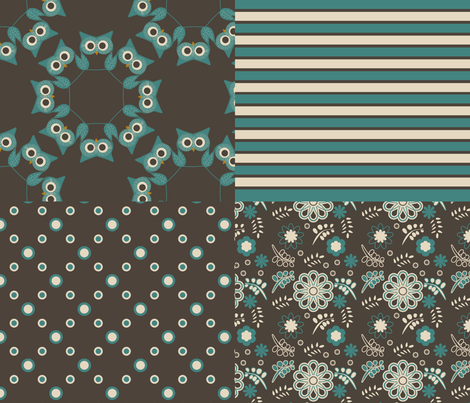 owls, stripes, dots and flowers fabric by suziwollman on Spoonflower - custom fabric