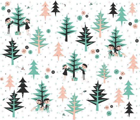 sitting by the evergreens fabric by miss_honeybird on Spoonflower - custom fabric