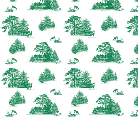 Evergreens toile with animals fabric by lucybaribeau on Spoonflower - custom fabric