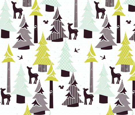 Winter Evergreen Forest fabric by ttoz on Spoonflower - custom fabric