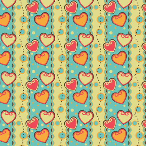 Popping Hearts fabric by eppiepeppercorn on Spoonflower - custom fabric