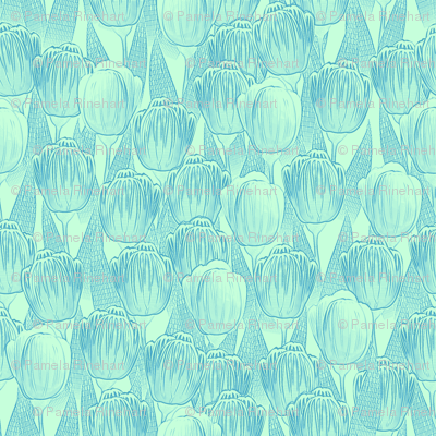 blue mint tulips
