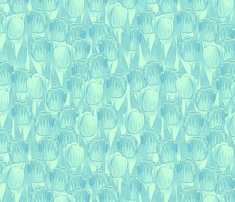 blue mint tulips fabric by glimmericks on Spoonflower - custom fabric