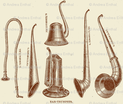 19th Century Ear Trumpets Medical Illustration