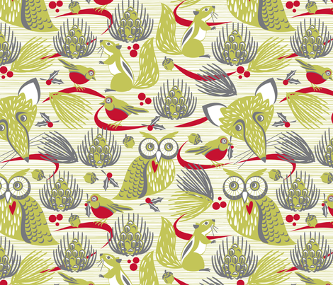Evergreen christmas party fabric by cjldesigns on Spoonflower - custom fabric