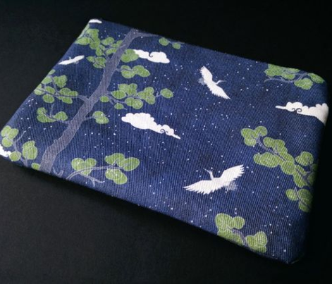 Forest Fabric, Crane Fabric | Indigo Japanese print fabric, bird fabric (small scale)