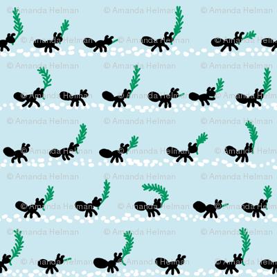 Ants collecting pine needles