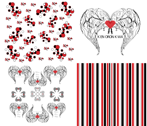 Winged Heart Clusters, Stripes, Dots Coordinates fabric by monicapeters on Spoonflower - custom fabric