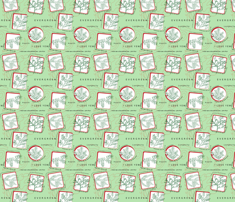 Evergreen I love Yew fabric by chickendream on Spoonflower - custom fabric