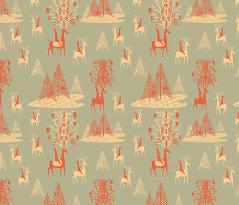 Trees and Elf fabric by chickoteria on Spoonflower - custom fabric