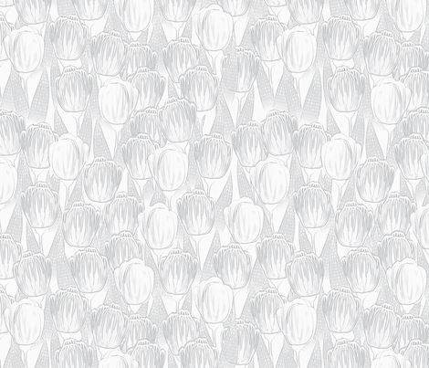 silver tulips fabric by glimmericks on Spoonflower - custom fabric