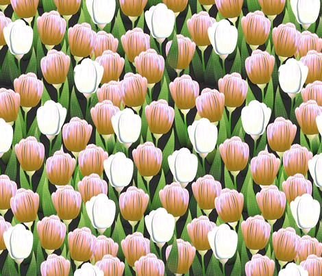 Tulips Pink and White fabric by glimmericks on Spoonflower - custom fabric