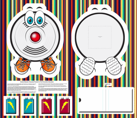 Cartoon Smoke Detector for Fire Safety Education fabric by engravogirl on Spoonflower - custom fabric
