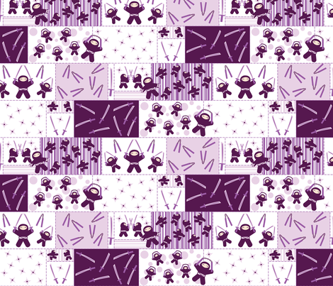 Super Purple Ninja Warriors (Block) fabric by robyriker on Spoonflower - custom fabric