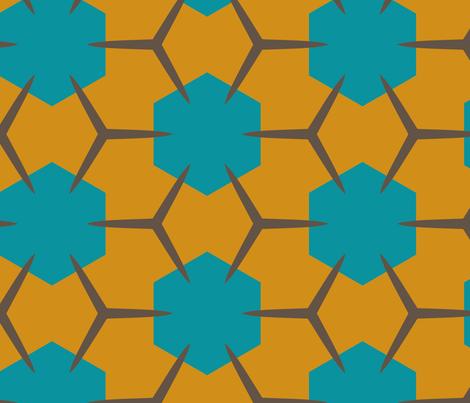 Yukibishi (Mustard & Teal) fabric by nekineko on Spoonflower - custom fabric