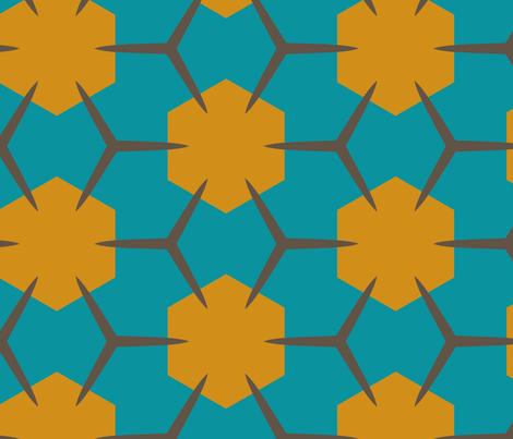 Yukibishi (Teal & Mustard) fabric by nekineko on Spoonflower - custom fabric