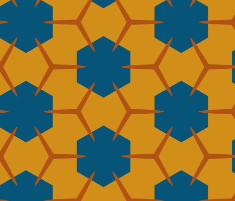 Yukibishi (Mustard & Deep Teal Blue) fabric by nekineko on Spoonflower - custom fabric