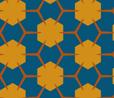 Yukibishi (Deep Teal Blue and Mustard) fabric by nekineko on Spoonflower - custom fabric