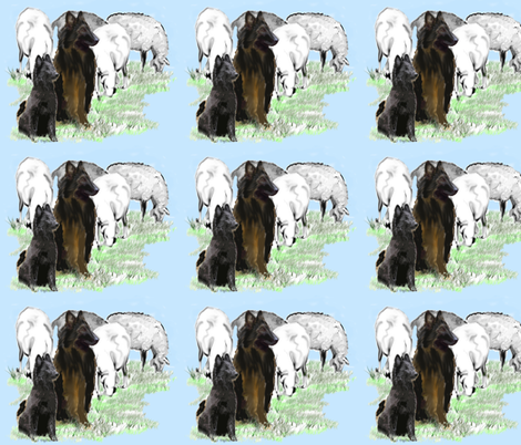 sheepdogs watching the sheep fabric by dogdaze_ on Spoonflower - custom fabric