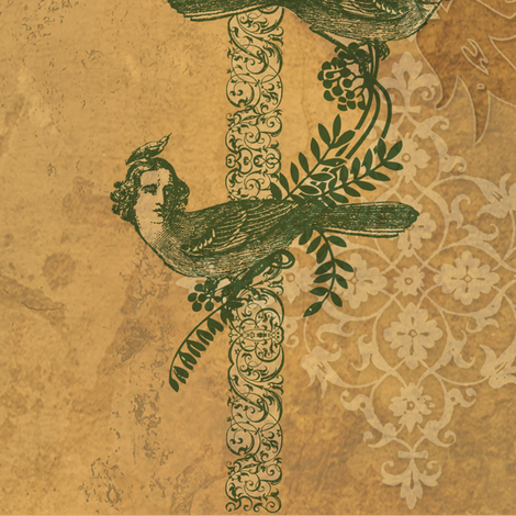 Steampunk Love Birds fabric by mudstuffing on Spoonflower - custom fabric