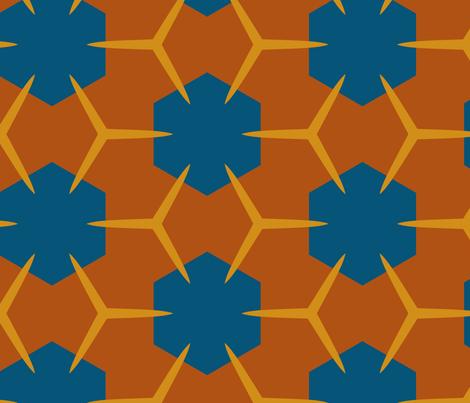 Yukibishi (Tan and Deep Teal Blue) fabric by nekineko on Spoonflower - custom fabric