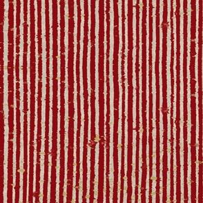 Distressed Bookpaper Stripe in Red
