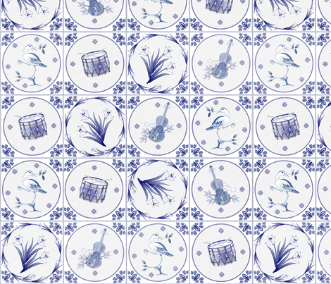 Delft Tiles fabric by glimmericks on Spoonflower - custom fabric