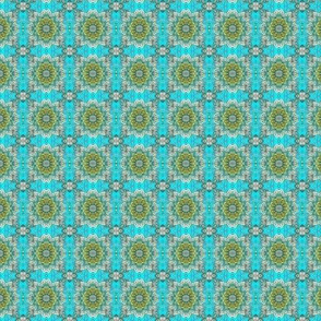 Retro Fifties Flower Field (teal/olive)