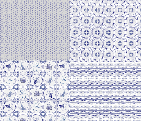 Delft  4in1 fabric by glimmericks on Spoonflower - custom fabric