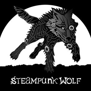 STEAMPUNK WOLF banner 1 yard centered