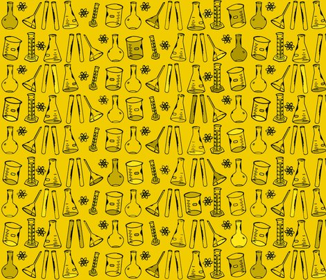 Chemistry Lab Yellow Fabric Nocodazole Spoonflower