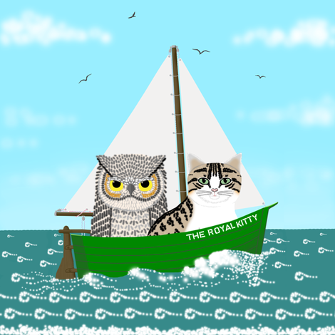 Owl and Pussycat a Sea wall decal fabric by victorialasher on Spoonflower - custom fabric