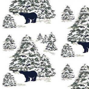 Black Bear Forest Winter Toile