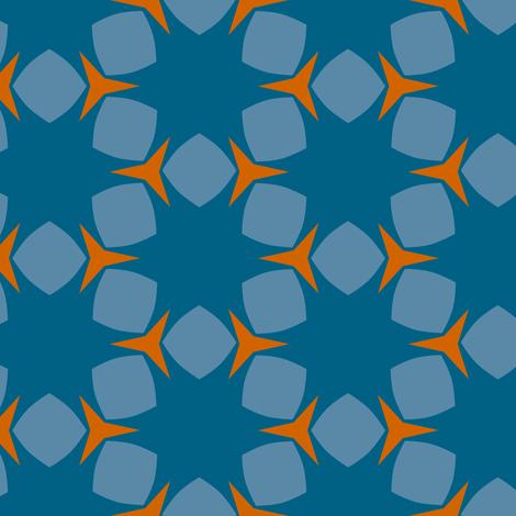 Edonohana (Blue Teal and Burnt Orange) fabric by nekineko on Spoonflower - custom fabric