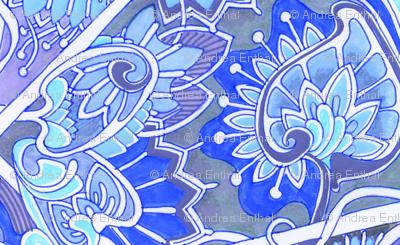 Doll Scale Floral Vertical Stripe (blue/lavender)