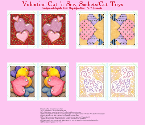 Watercolor Valentine Sachets Pink Set fabric by amyelyse on Spoonflower - custom fabric