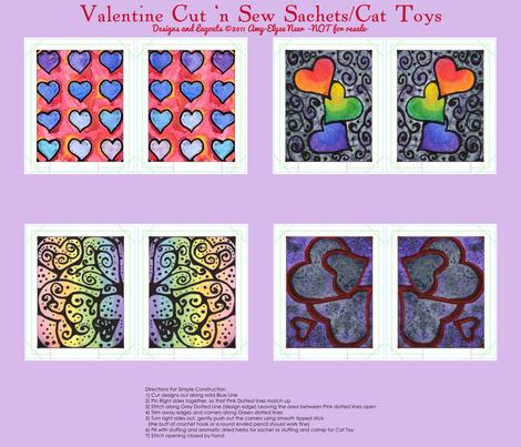 Watercolor Valentine Sachets Purple Set fabric by amyelyse on Spoonflower - custom fabric