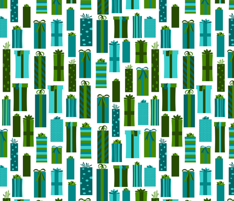 Presents Green and Blue on White fabric by jannasalak on Spoonflower - custom fabric