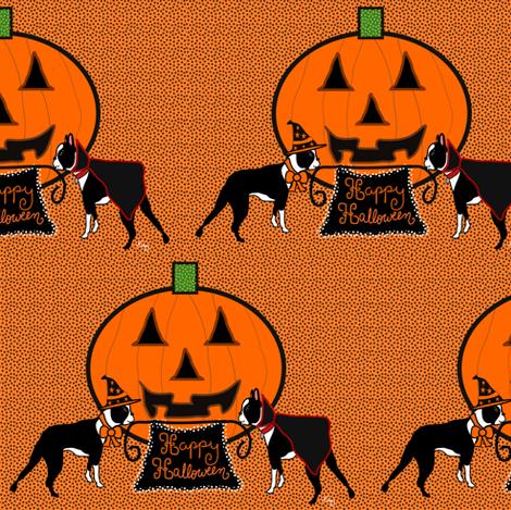 Happy Halloween Boston Terriers fabric by missyq on Spoonflower - custom fabric