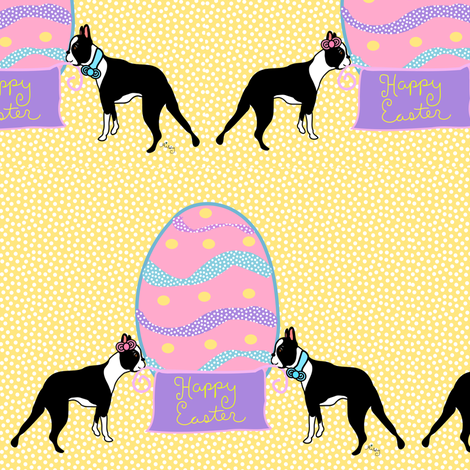 Happy Easter Boston Terriers fabric by missyq on Spoonflower - custom fabric