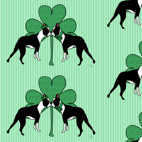St. Patricks Day Boston Terriers fabric by missyq on Spoonflower - custom fabric